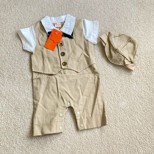 Other - 3-6 months boys formal beige outfit with hat